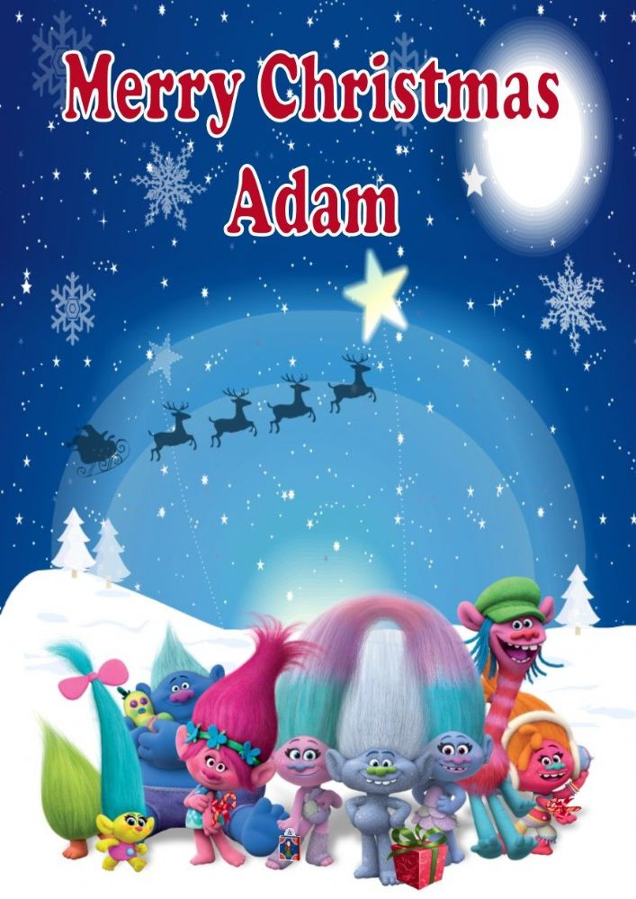 Personalised Trolls Movie Christmas Card